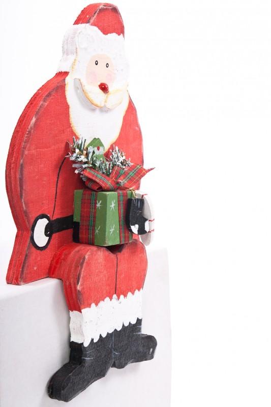 kantenhocker nikolaus weihnachtsmann aus holz beidseitig. Black Bedroom Furniture Sets. Home Design Ideas